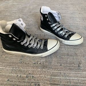 High top black leather converse